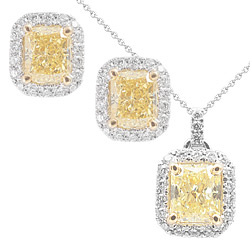 Fancy Diamonds Set - Pendant with Chain and Earrstuds