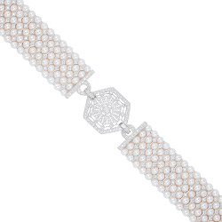Fresh Water Pearls & Diamonds Bracelet.  Art Deco Collection