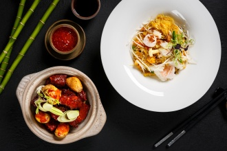 "Singapore Style Vermicelli, Shrimps & SquidBraised- Beef Short Ribs, Baby Potato, ""Zhu Hou"" Sauce"